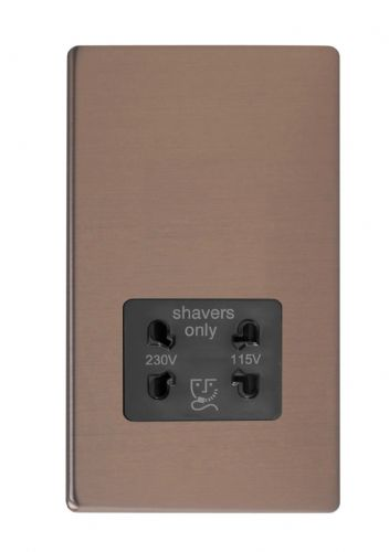 Varilight XDYSSBS.BZ Screwless Brushed Bronze Dual Voltage Shaver Socket 240V/115V